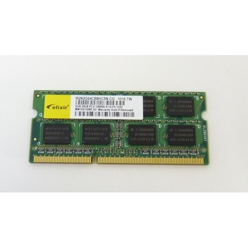 RAM MEMORIA PER NOTEBOOX ELIXIR 2GB 2RX8 PC3-10600S DDR3 1333MHZ LAPTOP RAM - NUOVO